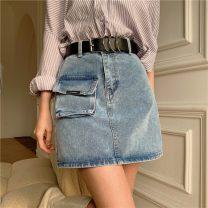 skirt Summer 2021 S,M,L,XL blue Short skirt commute High waist A-line skirt Type A 18-24 years old Denim other