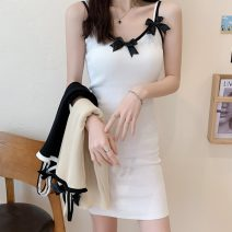 Dress Summer 2021 Apricot, white, black Average size Short skirt singleton  Sleeveless commute camisole 18-24 years old Korean version