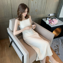 Dress Summer 2021 S,M,L,XL Mid length dress singleton  Sleeveless commute Crew neck High waist Solid color Socket A-line skirt other camisole 18-24 years old Type A Other / other Korean version thread 31% (inclusive) - 50% (inclusive) knitting