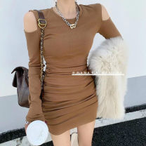 Dress Winter 2020 White, black, gray, caramel S, M Short skirt singleton  Long sleeves commute Crew neck High waist Solid color Socket One pace skirt routine Others Korean version polyester fiber