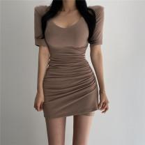 Dress Spring 2021 Khaki, black Average size Short skirt singleton  Short sleeve commute V-neck High waist Solid color Socket One pace skirt routine Type H Korean version fold other