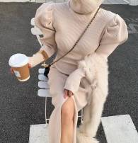 Dress Winter 2020 Grey, apricot, black Average size Mid length dress singleton  Long sleeves commute High collar middle-waisted Solid color Socket Pencil skirt puff sleeve Others Korean version knitting cotton