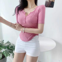 T-shirt White, black, yellow, pink, khaki, lake blue Average size Summer 2021 Short sleeve V-neck Self cultivation have cash less than that is registered in the accounts routine commute cotton 31% (inclusive) - 50% (inclusive) Korean version Solid color Frenulum