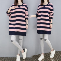 T-shirt Crew neck M,L,XL,XXL Other / other Stripe [single top], letter [single top], stripe [top + belly pants], letter [top + belly pants] Long sleeves spring and autumn Korean version Medium length stripe routine Pure cotton (95% and above)