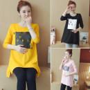 T-shirt Crew neck M,L,XL,XXL Other / other 1001 # pink, 1001 # yellow, 1002 # pink, 1002 # yellow, 1002 # black, 1002 # white, 1003 # white, 1003 # black, 1004 # yellow, 1004 # pink, 1008 # pink, 1008 # yellow, 1008 # blue, 1008 # white Long sleeves spring and autumn Korean version Medium length