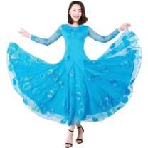 Latin Dance Costume Other / other male M. L, XL, XXL, XXL, one size Net long sleeve blue net blue flower dress 8 flowers