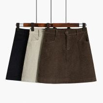 skirt Summer 2021 S,M,L,XL Black, apricot, brown Short skirt Retro High waist A-line skirt Solid color Type A 18-24 years old 51% (inclusive) - 70% (inclusive) corduroy Ocnltiy other Zipper, button