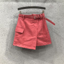 skirt Summer 2021 S,M,L,XL,2XL Watermelon red, white Short skirt street High waist A-line skirt Solid color Type A 25-29 years old Y1H1999 71% (inclusive) - 80% (inclusive) Denim Ocnltiy cotton Chain, pocket, asymmetry Europe and America