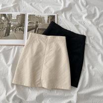skirt Summer 2021 S,M,L,XL Black, apricot Short skirt commute High waist A-line skirt Solid color Type A 18-24 years old other Ocnltiy polyester fiber zipper Korean version
