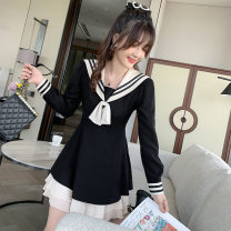 Dress Autumn 2020 black S,XL,L,M Short skirt singleton  Long sleeves Sweet Admiral High waist Solid color Socket Ruffle Skirt routine Others 18-24 years old Type A C109 71% (inclusive) - 80% (inclusive) other polyester fiber college
