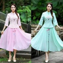 cheongsam Summer 2021 XXL,XXXL,S,M,L,XL White [single top], pink [single top], green [single top], white [suit], pink [suit], green [suit] three quarter sleeve Short cheongsam ethnic style Low slit daily Oblique lapel Solid color 18-25 years old Embroidery Tang Yiyuan cotton