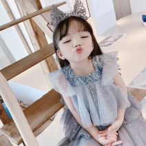 Dress Give the model the same headdress and hairband female Other / other 100cm,110cm,120cm,130cm,140cm,150cm Cotton 100% Korean version Dot blending Fluffy skirt Class B