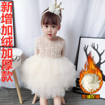 Dress female Other / other Cotton 55% hemp 45% winter Europe and America Solid color Cotton and hemp Cake skirt 12 months, 18 months, 2 years old, 3 years old, 4 years old, 5 years old, 6 years old, 7 years old