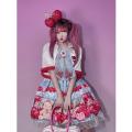 Dress Summer 2020 Powder grid Average size Middle-skirt singleton  Sleeveless Sweet Cartoon animation Socket camisole Other / other 81% (inclusive) - 90% (inclusive) Chiffon solar system