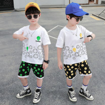 suit 2 pieces Condom children Expression of love Polka Dot pants suit 12 months, 18 months, 2 years old, 3 years old, 4 years old, 5 years old, 6 years old, 7 years old, 8 years old, 9 years old, 10 years old, 11 years old, 12 years old Wangqi City summer male Cartoon animation cotton Thin nothing