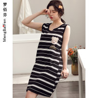 Nightdress Meng Baifen Y7118,Y7119,Y7120,Y7121,Y7122,Y7123,Y7125,Y7113,Y7124 M,L,XL,XXL,XXXL Simplicity Sleeveless pajamas Middle-skirt summer Cartoon animation juvenile Crew neck cotton Mosaic decoration More than 95% pure cotton Y7118 200g and below