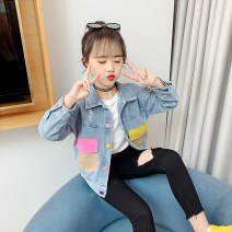 Plain coat Other / other female 100cm,110cm,120cm,130cm,140cm,150cm,160cm Denim blue spring and autumn leisure time Single breasted There are models in the real shooting routine nothing other Denim square neck WT212 Other 100% Class B