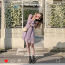 Dress Autumn of 2019 Purple, yellow S,M,L,XL Short skirt singleton  Long sleeves commute V-neck High waist Broken flowers Three buttons A-line skirt other Others 18-24 years old Type A Other / other Korean version Fold, tie, print Chiffon