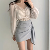 skirt Summer 2021 XS,S,M,L,XL Black, apricot, grey blue Short skirt commute High waist Irregular Solid color Type O 25-29 years old 71% (inclusive) - 80% (inclusive) other nylon Fold, asymmetry, zipper, taping Korean version