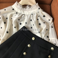 shirt Beige clover shirt with gold button and black skirt S,M,L,XL Spring 2021 polyester fiber 31% (inclusive) - 50% (inclusive) Long sleeves Versatile Short style (40cm < length ≤ 50cm) V-neck Socket routine Solid color 18-24 years old Self cultivation Three dimensional decoration, pocket