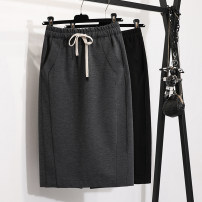 skirt Spring 2021 S,M,L,XL,2XL,3XL Black, gray Mid length dress commute High waist skirt Solid color Type H 25-29 years old skirt 71% (inclusive) - 80% (inclusive) other Other / other other Pocket, lace up, stitching Korean version 101g / m ^ 2 (including) - 120g / m ^ 2 (including)
