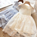 Dress Princess grey blue 8019, light luxury champagne 8019 female Other / other Other 100% summer Korean version Short sleeve Cartoon animation cotton A-line skirt Embroidered Lace Princess Dress Class B 2, 3, 4, 5, 6, 7, 8, 9, 10, 11, 12, 13, 14 years old Chinese Mainland Zhejiang Province