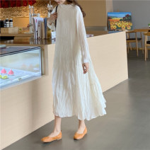 Dress Spring of 2019 White, apricot Average size Mid length dress singleton  Long sleeves Half high collar Loose waist Solid color Socket 18-24 years old fold Chiffon polyester fiber