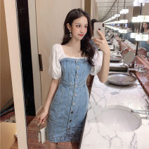 Dress Summer 2020 blue XS,S,M,L,XL Mid length dress Fake two pieces Short sleeve commute One word collar High waist Solid color Single breasted One pace skirt puff sleeve 18-24 years old Type H Korean version Button, button 81% (inclusive) - 90% (inclusive) Denim