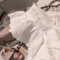 Lace / Chiffon Summer of 2019 white S,M,L,XL,2XL Sleeveless commute Socket singleton  easy Regular Crew neck Solid color Lotus leaf sleeve 25-29 years old Other / other Ruffles, lace Korean version