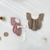 Jumpsuit / climbing suit / Khaki currency Pure cotton (100% content) Other / other Class A summer Short sleeve Trigonometry Korean version No model Buckle 01 Freshmen, 3 months, 6 months, 12 months, 18 months, 2 years, 3 years, 9 months Pink, brown 80cm,73cm,90cm,66cm