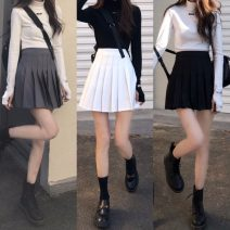 skirt Spring 2021 XS,S,M,L,XL,2XL,3XL Pink [with safety pants], black [with safety pants], white [with safety pants], gray [with safety pants] Short skirt commute High waist Pleated skirt Solid color Type A 18-24 years old Pleated, zipper Korean version