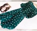 Dress Summer 2020 green S,M,L,XL Mid length dress Short sleeve commute square neck High waist Socket