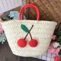 Bag handbag grass Straw bag Other / other Cherry in hand - genuine stripe lining brand new hard no nothing