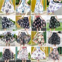 skirt Summer 2021 Average size Mid length dress commute High waist A-line skirt Decor Type A Korean version