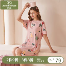 Nightdress Autumn deer M L XL XXL Cartoon Leisure home summer Cartoon animation youth Crew neck cotton More than 95% Knitted cotton Summer 2021 Cotton 100% Same model in shopping mall (sold online and offline)