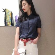 shirt navy blue 2 / s, 3 / m, 4 / L, 5 / XL Summer 2021 cotton 96% and above Short sleeve Versatile Regular Polo collar Single row multi button routine Dot Self cultivation Pretend to be amashizheng
