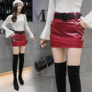 skirt Autumn of 2018 S,M,L,XL,2XL Red, black, black (plush), red (plush) Short skirt Versatile Natural waist skirt Solid color 18-24 years old Other / other PU Pocket, zipper, stitching