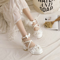 Sandals 30,31,32,33,34,35,36,37,38,39,40,41,42,43 White, black, beige, pink, white upgrade, pink upgrade, beige upgrade, black upgrade, pay attention to the shop [give gifts] PU Other / other Baotou Thick heel High heel (5-8cm) Summer 2021 Flat buckle Lolita Solid color Adhesive shoes rubber Bag heel