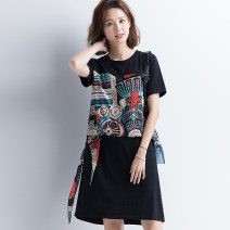 Dress Summer 2020 Short Sleeve Black M,L,XL,2XL,3XL,4XL Miniskirt singleton  Short sleeve commute Crew neck Loose waist Socket A-line skirt routine Others Type A Other / other Korean version 91% (inclusive) - 95% (inclusive) cotton