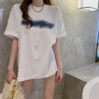 shirt Picture color S,M,L,XL Summer 2021 other 31% (inclusive) - 50% (inclusive) Short sleeve commute Medium length Crew neck routine 18-24 years old Korean version