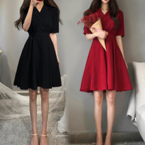 Women's large Summer of 2019 Red, black Large L, large XL, m, 2XL, 3XL, 4XL, limited quantity 43.9 yuan singleton  commute Short sleeve Solid color Korean version 25-29 years old Short skirt