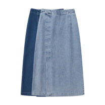 skirt Spring 2021 S,M,L Light blue, dark blue Mid length dress Sweet High waist Denim skirt Solid color 18-24 years old 31% (inclusive) - 50% (inclusive) other