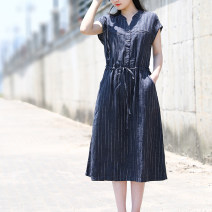 Dress Summer 2021 M,L,XL Mid length dress singleton  Short sleeve V-neck stripe Wrap sleeves Lace up, tuck More than 95% hemp