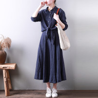 Dress Spring 2021 Deep denim blue, light denim blue Average size longuette Fake two pieces Long sleeves other Elastic waist Single breasted Big swing shirt sleeve Type X hemp