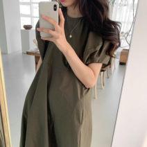 Dress Summer 2021 Green, black Average size Mid length dress singleton  Short sleeve Solid color