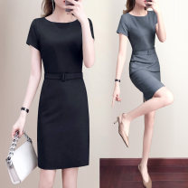 Dress Summer of 2019 Light grey, black, dark grey S,M,L,XL,2XL,3XL,4XL Mid length dress singleton  Short sleeve commute Crew neck middle-waisted Solid color zipper One pace skirt routine 25-29 years old Type X Ol style Lace up, zipper 51% (inclusive) - 70% (inclusive) other