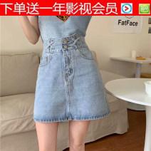 skirt Summer 2020 Middle-skirt High waist Versatile Denim skirt Solid color Type A 30% and below cotton 18-24 years old Denim Old, button S,M,L,XL,2XL,3XL,4XL,5XL Light blue