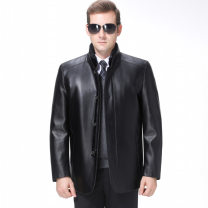 leather clothing Oana  Youth fashion Black, brown, one hair substitute 170/M,175/L,180/XL,185/XXL,190/XXXL have more cash than can be accounted for Imitation leather clothes stand collar Slim fit Single breasted leisure time middle age Side seam pocket Intradermal bile duct
