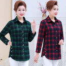 shirt Green grid, red grid, Mibai grid XL,2XL,3XL,4XL,5XL Spring 2021 cotton 96% and above Long sleeves Medium length square neck Single row multi button routine lattice 40-49 years old cotton