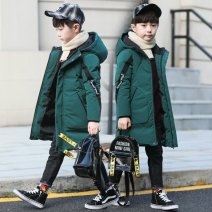 Cotton padded jacket male No detachable cap other Other / other The boy's ribbon cotton padded jacket is dark green, and the boy's ribbon cotton padded jacket is black 110cm,120cm,130cm,140cm,150cm,160cm thickening Zipper shirt leisure time Solid color cotton High collar 2 years old